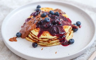 High Protein Pancakes with Almond Caramel and Blueberry Sauce