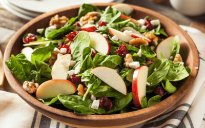 Spinach Salad with Apples, Walnuts, Cranberries, and Feta Cheese